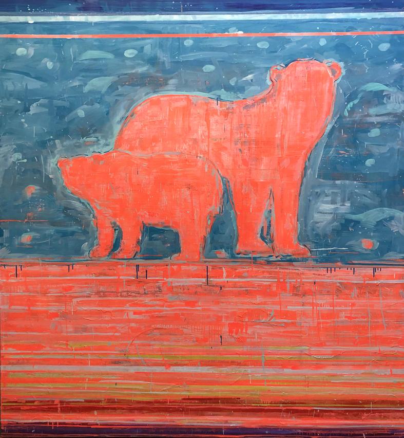 Adam—Adach—Fluo—Pink—Bear-oil—painting